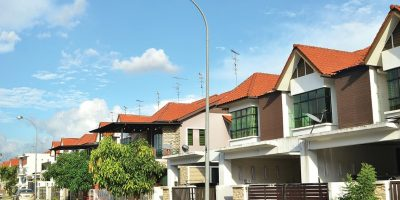 JOHOR BAHRU, MALAYSIA -JUL 14, 2017: Row of two storey newly built terrace house under the blue skies in Johor Bahru, Malaysia.